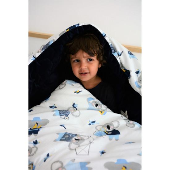 Dětská hrací deka  #ILOVEPANDA PINK tmavě šedá 110x140 cm