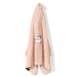 Osuška pro miminko s kapucí UNICORN SUGAR BEBE růžová 70x135 cm