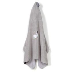 Osuška pro miminko s kapucí MOONLIGHT SWAN šedá 70x135 cm