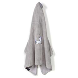 Osuška pro miminko s kapucí UNICORN RAINBOW KNIGHT šedá 70x135 cm